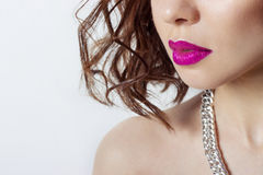 Big beautiful sexy sensual girls lips with bright pink lipstick,beauty fashion photography Royalty Free Stock Photography