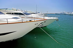 Big, beautiful, stunning and luxurious white yachts Stock Photo
