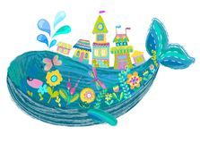 Big beautiful whale with houses and flowers Stock Photo