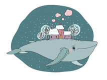 Big beautiful whale with houses and trees in the back. Isolated objects on white background. Vector illustration. Animal in the sea and ocean Stock Image