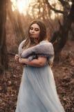 A big, beautiful woman in a blue dress stock photo