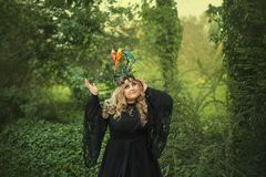 A big, beautiful, young woman in a black dress and in a crown with thorns on which birds are sitting-wavy parrots. The Royalty Free Stock Image