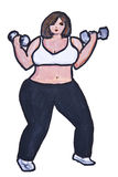 Big beauty lifts weights Stock Photo