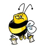 Big bee and honey cartoon Stock Images