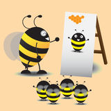 Big Bee Taught The Little Bee To Act Like Picture. Vector Illustration Royalty Free Stock Photography
