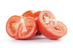 Big beef tomatoes sliced,  on white Royalty Free Stock Photos