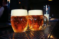 Big Beer glass on bar table. Closeup. Big Beer glass on a bar table. Closeup Stock Photo