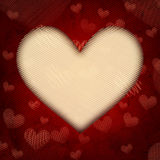Big beige striped heart on old paper Stock Images