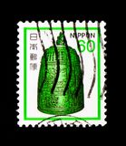 Big bell from Byodo Temple, Fauna, Flora and Cultural Heritage serie, circa 1980. MOSCOW, RUSSIA - SEPTEMBER 3, 2017: A stamp printed in Japan shows Big bell Royalty Free Stock Photography