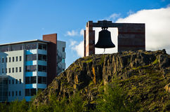 Big bell at the entrance to Akureyri university campus Royalty Free Stock Images