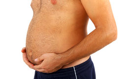 Big belly of a fat man. Isolated on white background Royalty Free Stock Photos