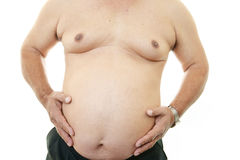Big belly of a fat man Royalty Free Stock Photo