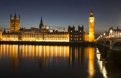 Big Ben και σπίτι του Κοινοβουλίου τη νύχτα, Λονδίνο, Ηνωμένο Βασίλειο Στοκ Φωτογραφία