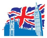 Big Ben του Λονδίνου με το Union Jack ως υπόβαθρο διανυσματική απεικόνιση