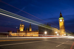 Big Ben. Big Ben and British Parliament with traffic lights Royalty Free Stock Photos