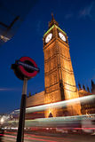Big Ben. At dusk seen from the Underground entrance Royalty Free Stock Image