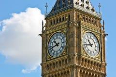 Big Ben. Looking at the clock faces of Big Ben in London England Stock Photo