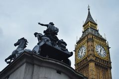 Big ben. With a statue in london Stock Photos