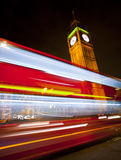 Big Ben. Westminster Bridge in London at night with Big Ben and bus Royalty Free Stock Photos