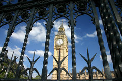 Big Ben. London Parliament and Big Ben view from behind the gates stock images
