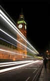 Big Ben. At night with traffic trails, London Stock Images