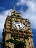 Big Ben. Detail of tower and clock of Big Ben in London Westminster from below royalty free stock photo