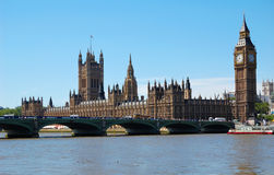 The Big Ben. The Houses of Parliament and Westminster Bridge in a clear day Royalty Free Stock Photography