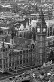 Big Ben. A monochrome picture of Big Ben taken from the air royalty free stock image