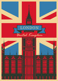 Big Ben against the British flag. Banner with Big Ben against the background of the British flag Stock Image