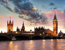 Big Ben against colorful sunset in London, England, UK Royalty Free Stock Photo