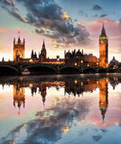 Big Ben against colorful sunset in London, England, UK Royalty Free Stock Photos