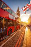 Big Ben against colorful sunset in London, UK Stock Image