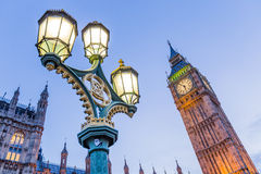 Big Ben with antique street lamp. In London,UK Royalty Free Stock Image