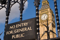 Big Ben behind closed gates Royalty Free Stock Image