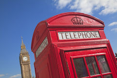 The Big Ben behind a telephone box in London, Europe Royalty Free Stock Photography