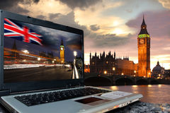 Big Ben with Big Ben on screen of notebook, London Royalty Free Stock Photo