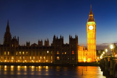 Big Ben during the blue hour. London, England Royalty Free Stock Images
