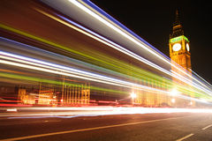 Big Ben with blurred lights at dusk, London Royalty Free Stock Photography