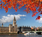 Big Ben with boat in London, England Stock Image
