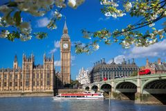 Big Ben with boat during spring time in London, England, UK. Famous Big Ben with boat during spring time in London, England, UK stock image