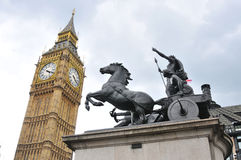 Big Ben and Boudica Statue Royalty Free Stock Images