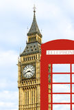 Big Ben and box of phone. Royalty Free Stock Photography