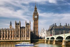 Big Ben with bridge in London, England Royalty Free Stock Image