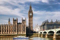 Big Ben with bridge in London, England. Famous Big Ben with bridge in London, England Royalty Free Stock Image