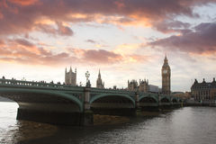 Big Ben with bridge, London, UK Stock Photo