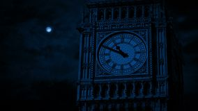 Big Ben Clock Face In Moonlight. Closeup of Big Ben clock face in moonlight stock video