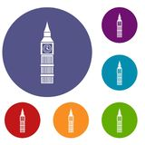 Big Ben clock icons set. In flat circle reb, blue and green color for web Royalty Free Stock Image