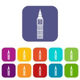 Big Ben clock icons set. Vector illustration in flat style in colors red, blue, green, and other Royalty Free Stock Photography