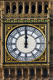 Big Ben clock just at the noon, London, UK Stock Photos