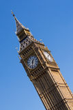 Big Ben clock tower. Angled view of Big Ben clock tower on the Palace of Westminster in London, England Stock Image